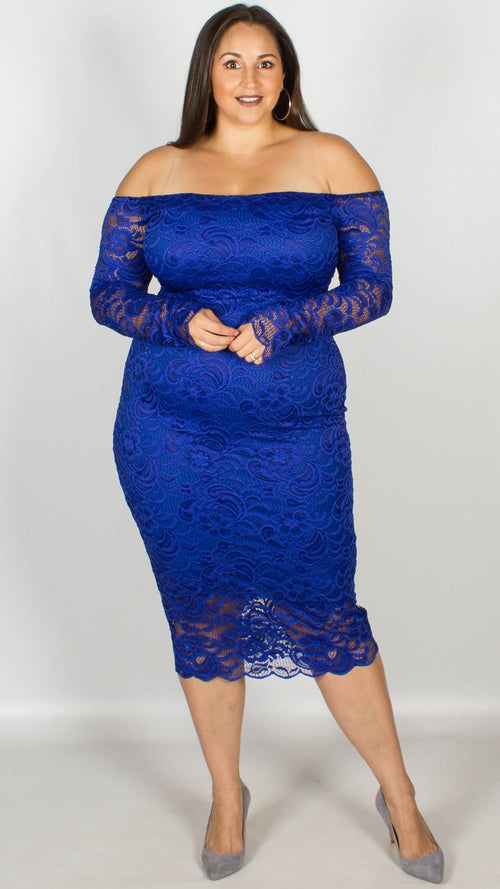 CurveWow Off the Shoulder Lace Midi Dress Royal Blue