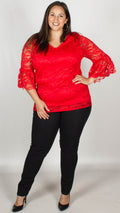 CurveWow Lace V-Neck Top Red