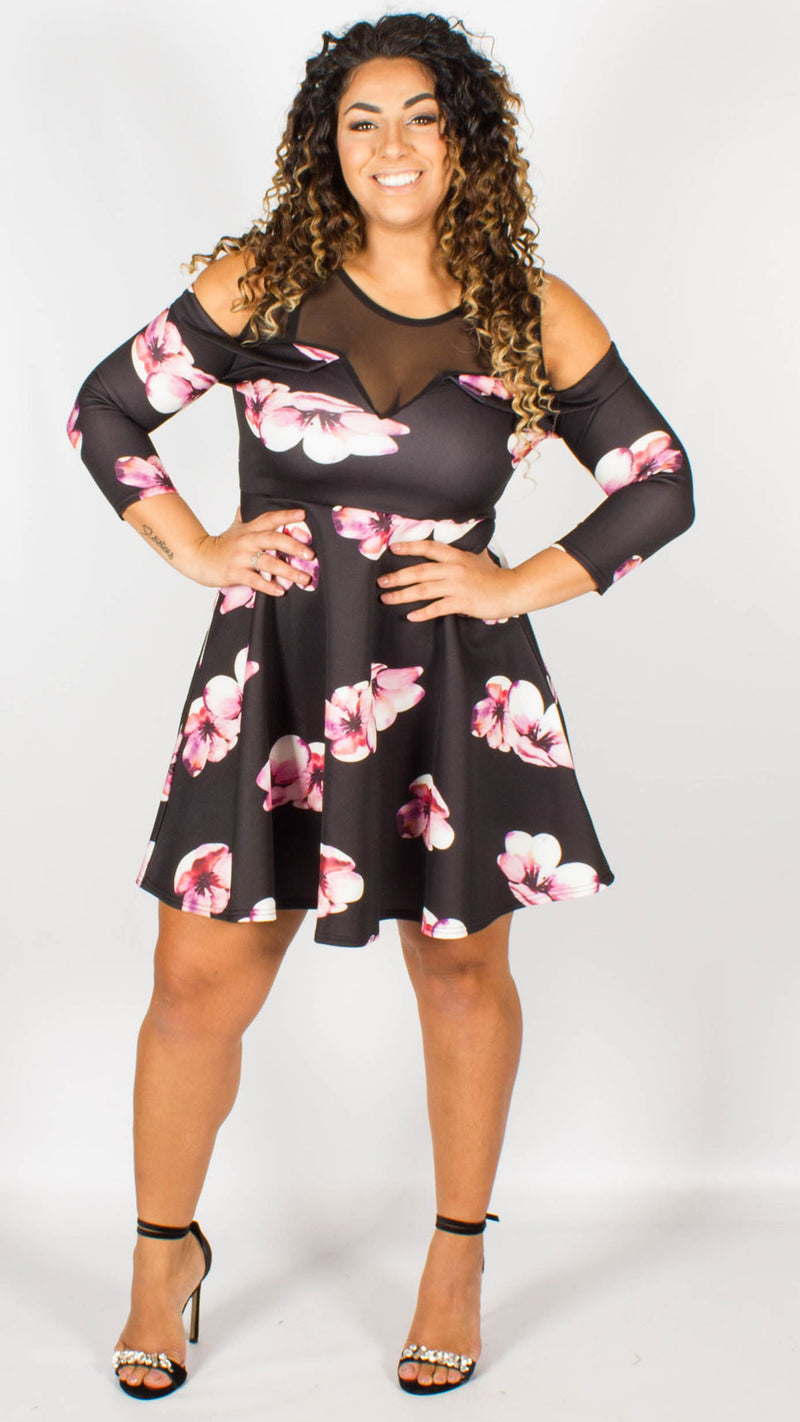 Ayr Black & Pink Floral Cold Shoulder Skater Dress with Mesh Panel