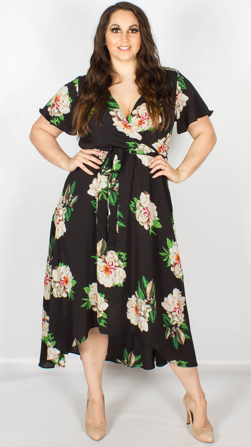 Faith Floral Print Midi Length Wrap Dress