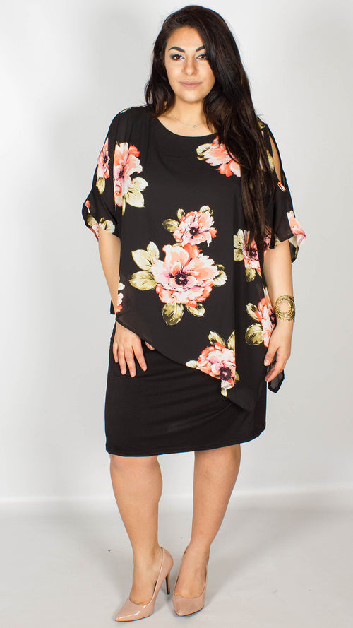 Amy Cold Shoulder Overlay Black Floral Dress