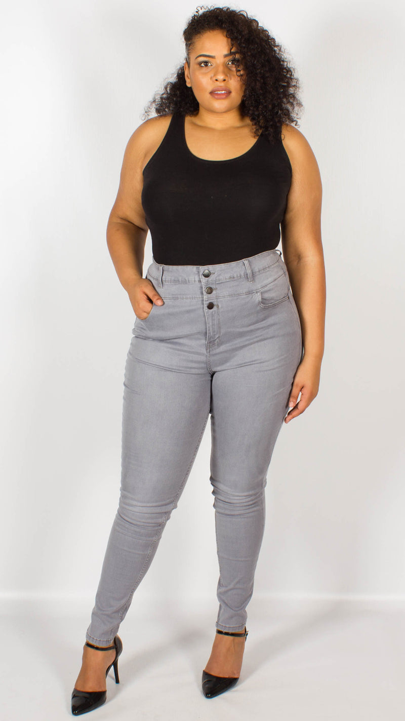 Ohio Grey High Waisted Skinny Jeans