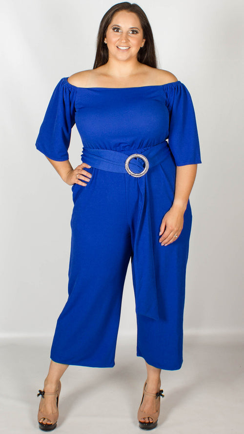 Ellen Bardot Culotte Royal Blue Jumpsuit with Belt