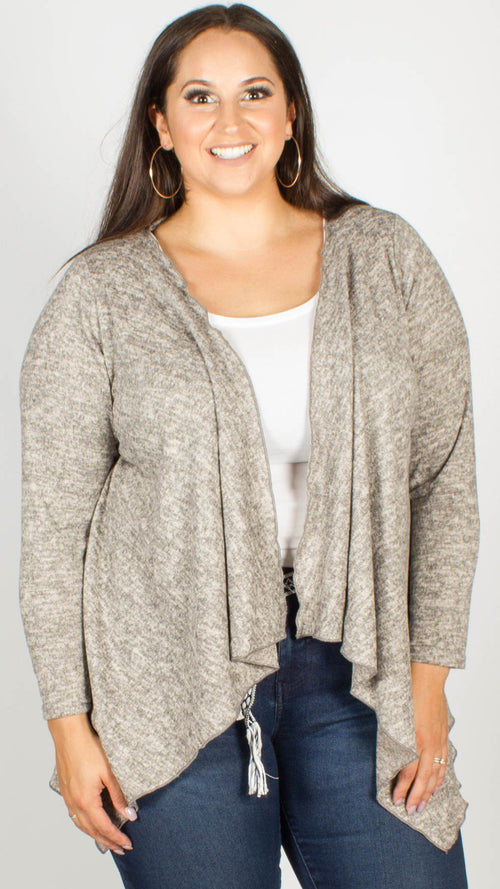 Nyomi Stone Waterfall Soft Knitted Cardigan Cape