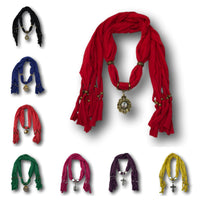 Unique Charming Fashion Scarves with Pendants - Assorted Pack of 3