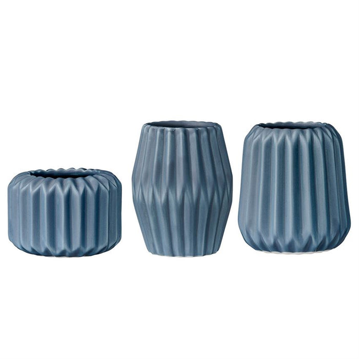 Fluted Porcelain Votive & Tealight Holder, Cadet Blue - Set of 3 Heights