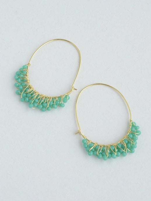 beaded teal hoops gold