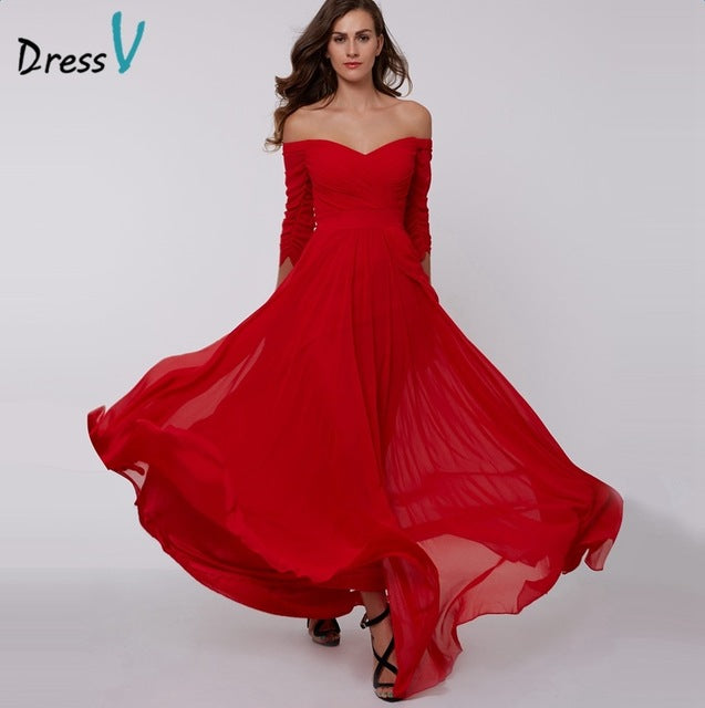 A-line long cheap off the shoulder zipper up 3/4 length sleeves pleats ruched chiffon evening dress - FKF Fashion