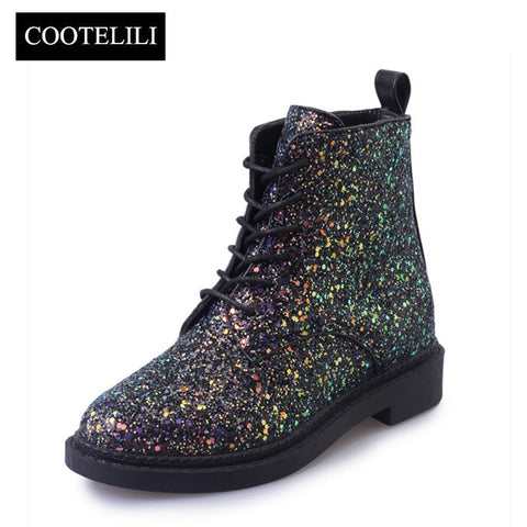 Designer Autumn Glitter Lace up Boots