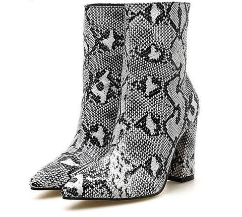 Snake Print Ankle Pointed Toe Heel Boots