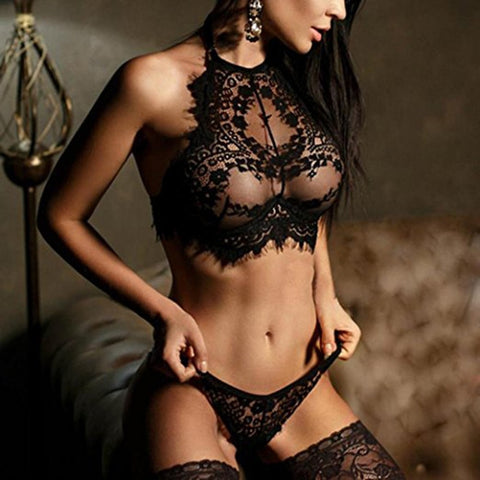 Seamless Embroidery Bralette Erotic Lingerie Set