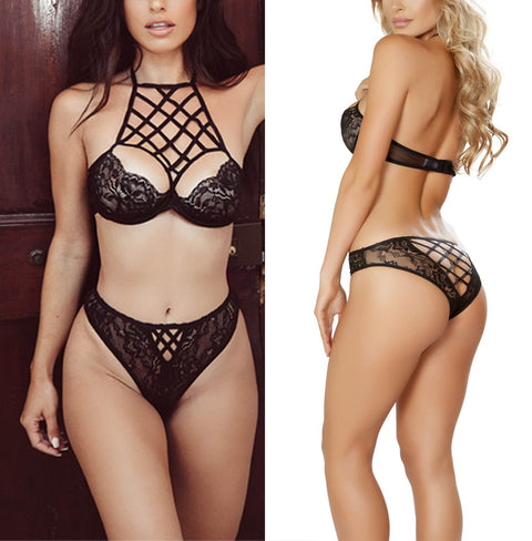 Bandage Lace Hollow Bra Brief Sets - FKF Fashion