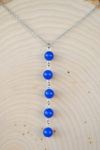Sapphire Silver Chain Necklace