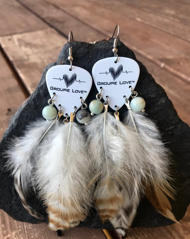 Groupie Love Classic Blue Green Mix Feather Earrings