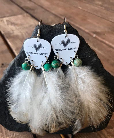 Groupie Love Classic Green Sea Sediment Feather Earrings