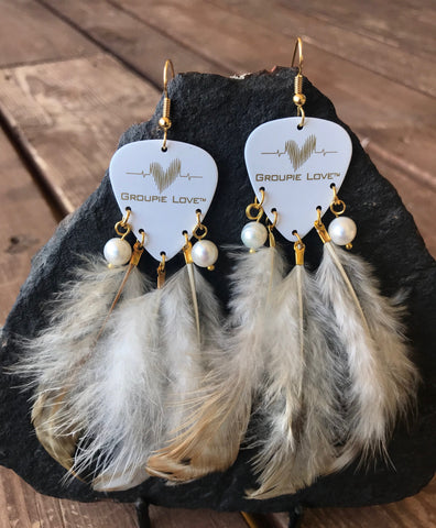 Groupie Love White & Gold Pearl Earrings