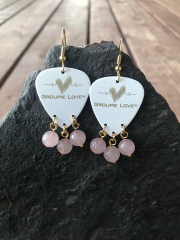 Groupie Love White & Gold Rose Quartz Earrings