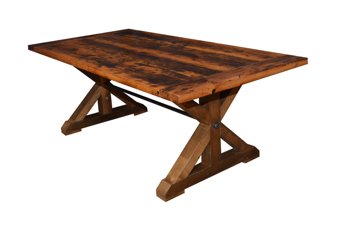 The Wood Modern Sawbuck Trestle Base made with Reclaimed Barn Wood Epoxy Matte Finish.