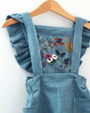 Steel Blue Gray Embroidered 3 Piece Pinafore