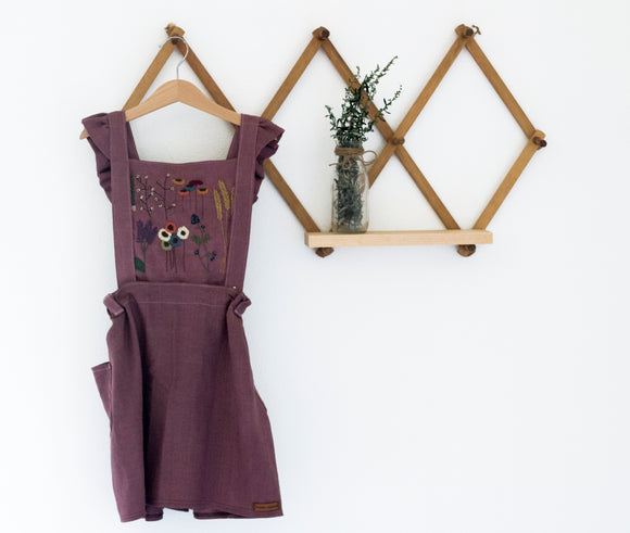 Purple Embroidered 3 Piece Pinafore