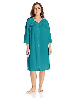 Shadowline Rose Embroidered Button Up Yoke Coat 77280 Teal 2X-Large