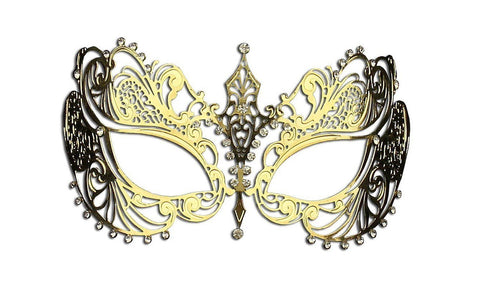 Kayso Filigree Mask Phantom Venetian Masqueerade Gold w/ Clear Rhinestones