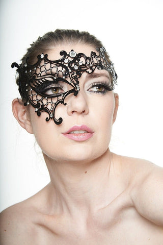 Kayso Filigree Mask Phantom Venetian Masqueerade Black w/ Clear Rhinestones