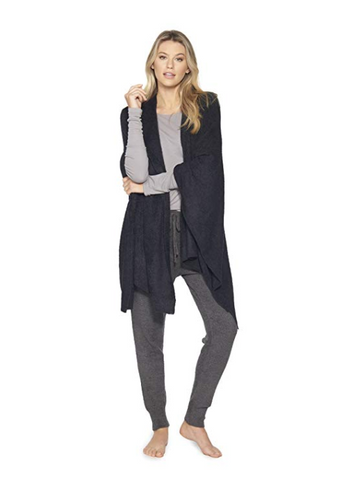 Barefoot Dreams CozyChic Lite Black Weekend Wrap One Size