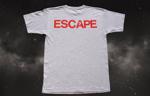 REACH/ESCAPE Athletic Grey t-shirt with infra red print back. parkour, freerunning, streetwear