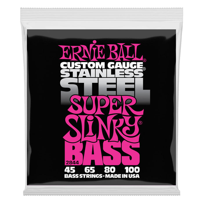 Ernie Ball 2844 Stainless Steel Super Slinky BASS Strings (Gauge 45-100)