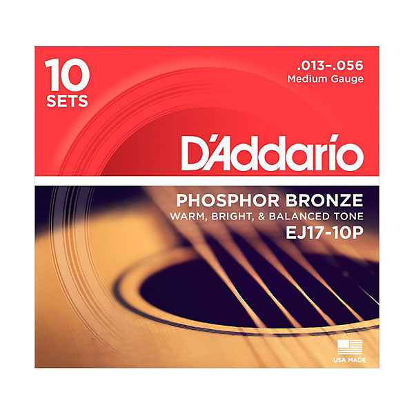 D'Addario Acoustic Phosphor Bronze Guitar Strings 13-56 (10 SETS) EJ17-10P