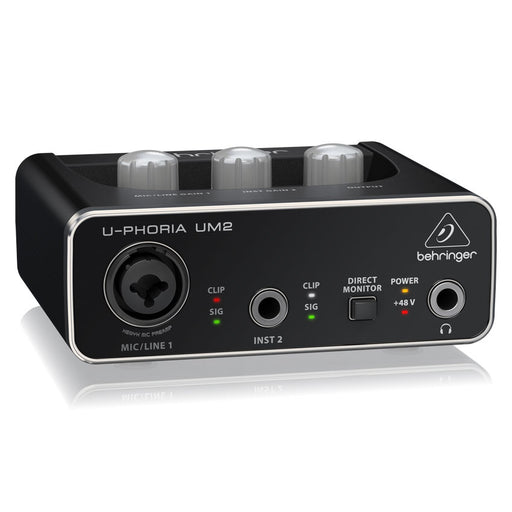 Behringer U-Phoria UM2 Audiophile 2x2 USB Audio Interface XENYX Mic Preamplifier