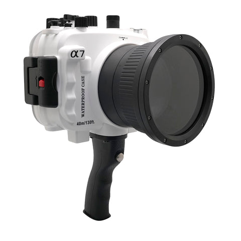 Sony A7 NG Series 40M/130FT Underwater camera housing with pistol grip (Standard port) White - A6XXX SALTED LINE