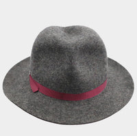 Mixed Wool Winter Trilby - Wine Red