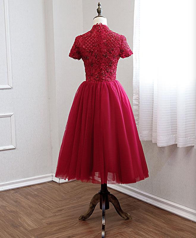 Burgundy lace tulle prom dress, burgundy bridesmaid dress