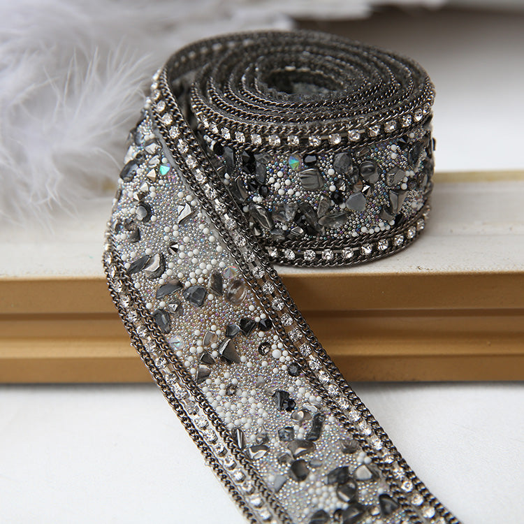 Black handmade diamond belt, fashion belt