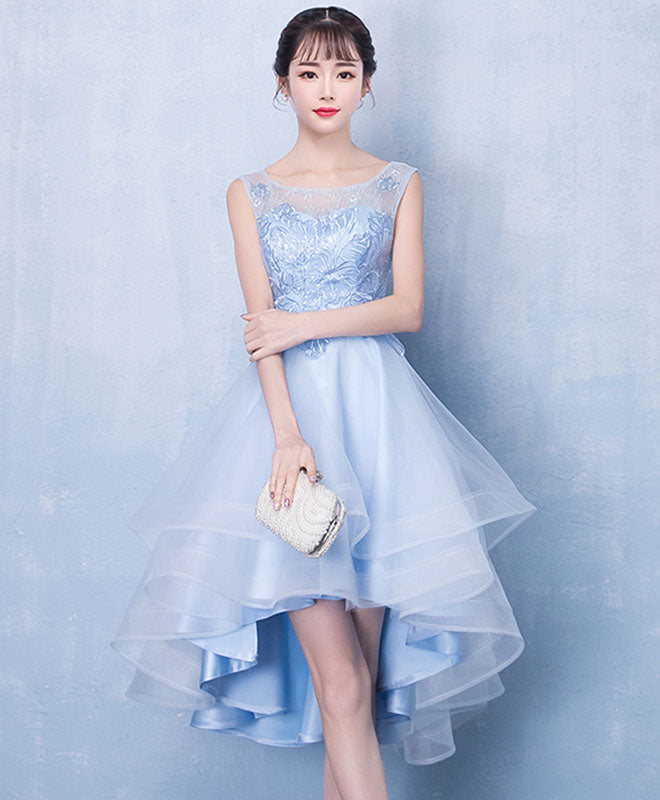 Blue tulle high low lace prom dress, blue tulle lace homecoming dress