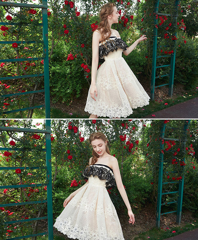 Cute champagne lace short prom dress, champagne homecoming dress