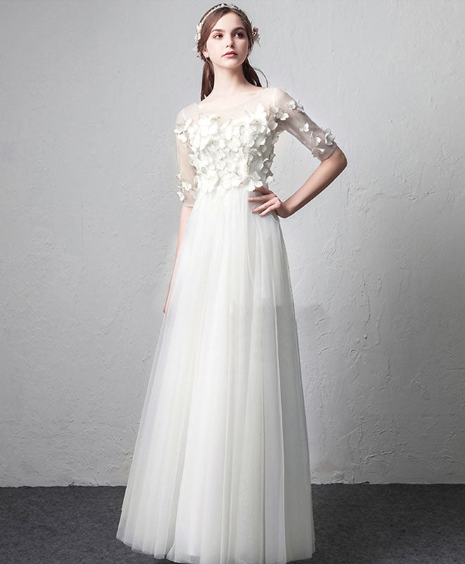 White round neck tulle long prom dress, white evening dress
