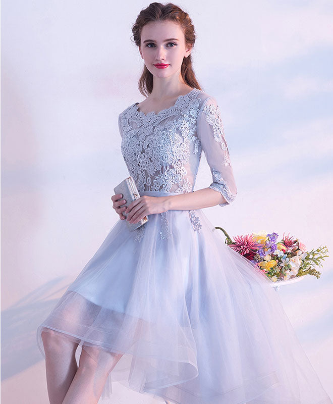 Gray lace tulle high low prom dress, gray evening dress