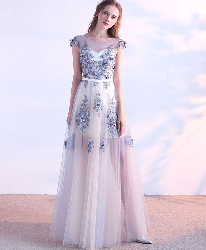 Gray tulle lace long prom dress, evening dress