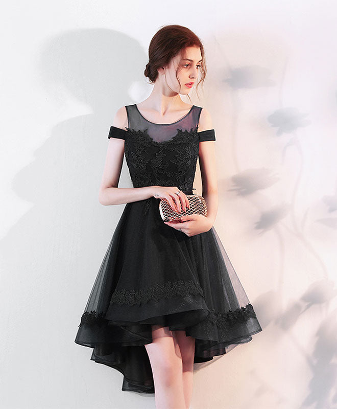 Cute lace off shoulder short prom dress, high low evening dress
