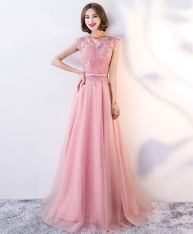 Pink lace long prom dress, pink evening dress