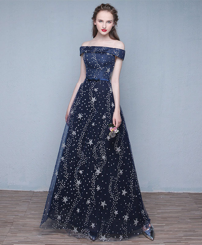 Blue long prom dress, off shoulder evening dress