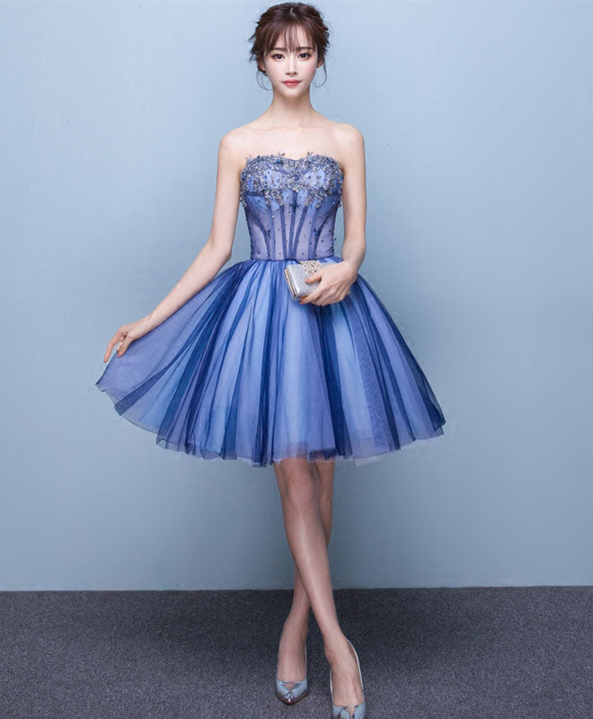 Cute tulle lace sweet neck short prom dress, homecoming dress