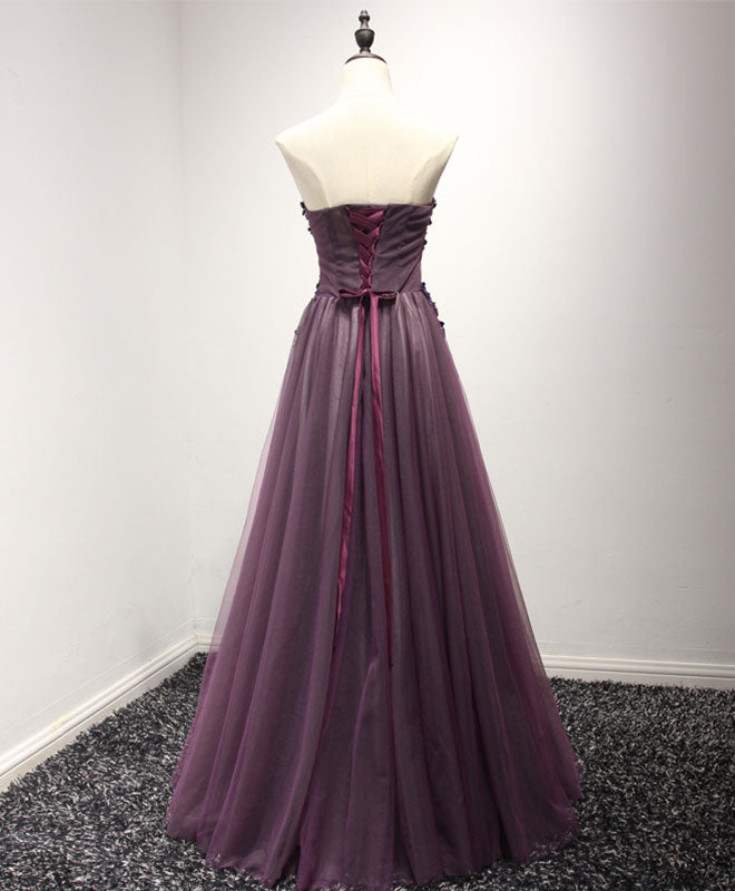 Pruple sweetheart neck lace long prom dress, formal dress