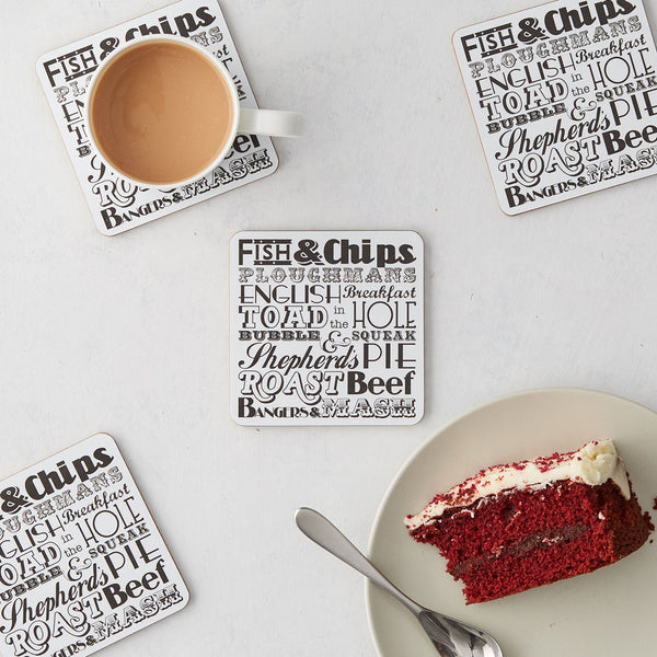 English Dinner Coaster Charcoal - Set Of 4