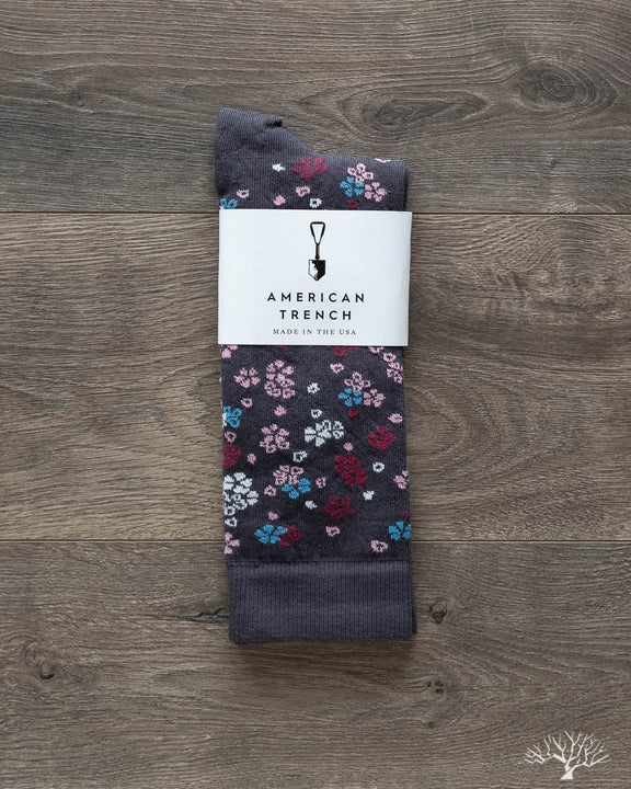 Floral Pattern Supima Cotton - Grey