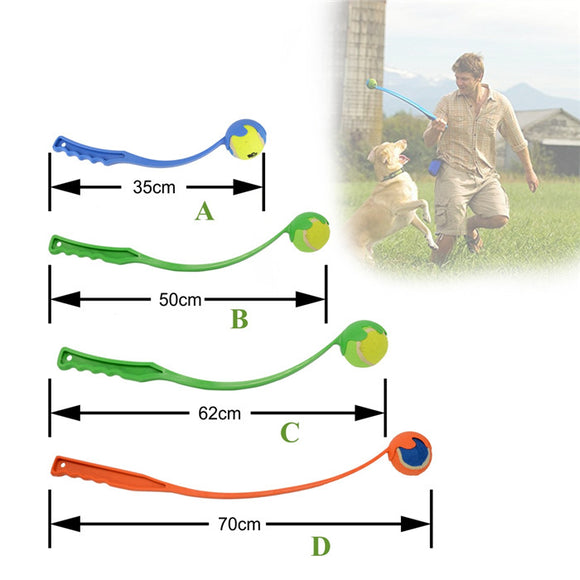 Dog Tennis Ball Launcher with Long Plastic Handle