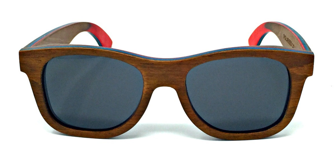 Britt - Brown Walnut Wood Sunglasses with Grey Polarized Lenses